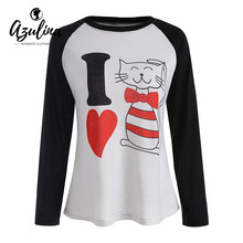 AZULINA I Love Kitty Valentine T-Shirt Letter Print O Neck Long Sleeve T Shirt Ladies Tops Girls Clothes Spring Casual T-Shirts(China)