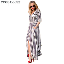 YJSFG HOUSE Sexy Elegant Women Dress Long Maxi White Black Striped Dress Turn Down Collar Slim Belted Office Work Formal Dress