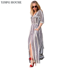 YJSFG HOUSE Sexy Elegant Women Dress Long Maxi White Black Striped Dress Turn Down Collar Slim Belted Office Work Formal Dress(China)