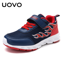 UOVO 2018 Boys Fashion Sneakers Textile Breathable Kids Shoes Flame Pattern Children Shoes for Eur Size 30#-40#(China)