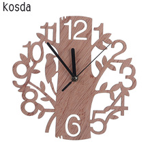 Creative 3D Wooden Tree and Bird Clock Large Size Wall Clock Modern European Clock Reloj De Pared Needle Clock