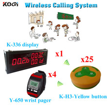 wireless counter communication system For Restaurant with 433.92mhz 1 led display + 4 watch pager + 25 call button(China)