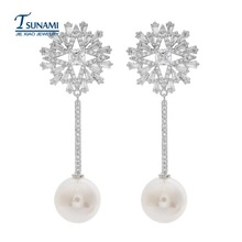 High quality AAA zircon pearl earrings Exquisite design of Korean zircon bride earrings ER-099