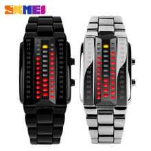 Luxury Lovers' Wristwatch Waterproof Men Women Stainless Steel Red Binary Luminous LED Electronic Display Sport Watches Fashion(China)