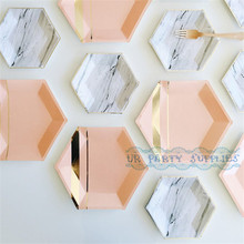 Free Ship 48pcs Party Tableware Mix of 9inch/7inch Gold Foil Marble/Pink Hexagon Paper Plates for Wedding Birthday Dessert/Cake