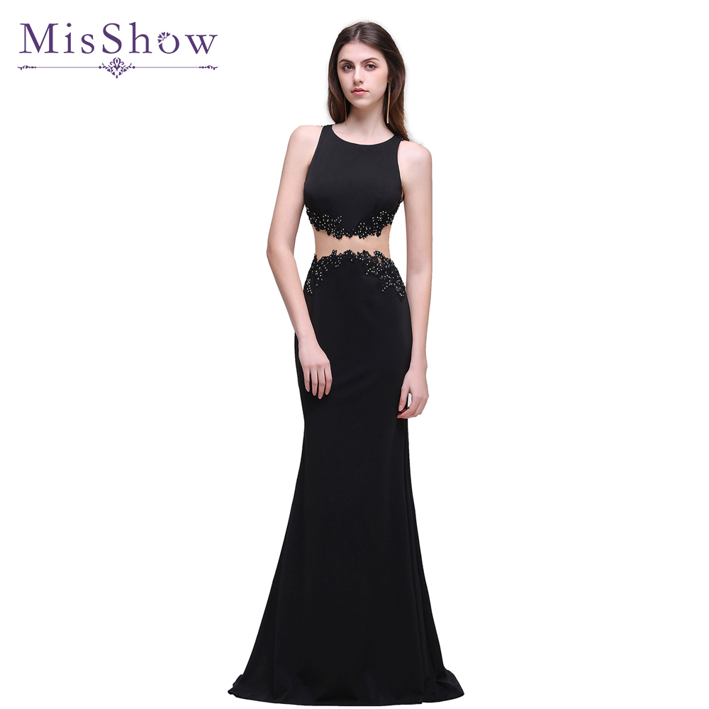 In Stock ! Cheap! Lace Appliques Black Long Evening Dresses 2019 Sexy Illusion Evening Party Dress Formal Gowns robe de soiree