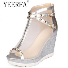 YIERFA Fashion Sexy Brand Ladies sandals Woman Wedges Peep toe Rivets Mesh Buckle Gold Silver Hot sale Comfort Party Cool(China)