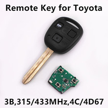 Remote Key for Toyota Camry Prado Corolla Car Key Auto Keyless Entry Remote TOY43 Blade 315MHz/433MHz