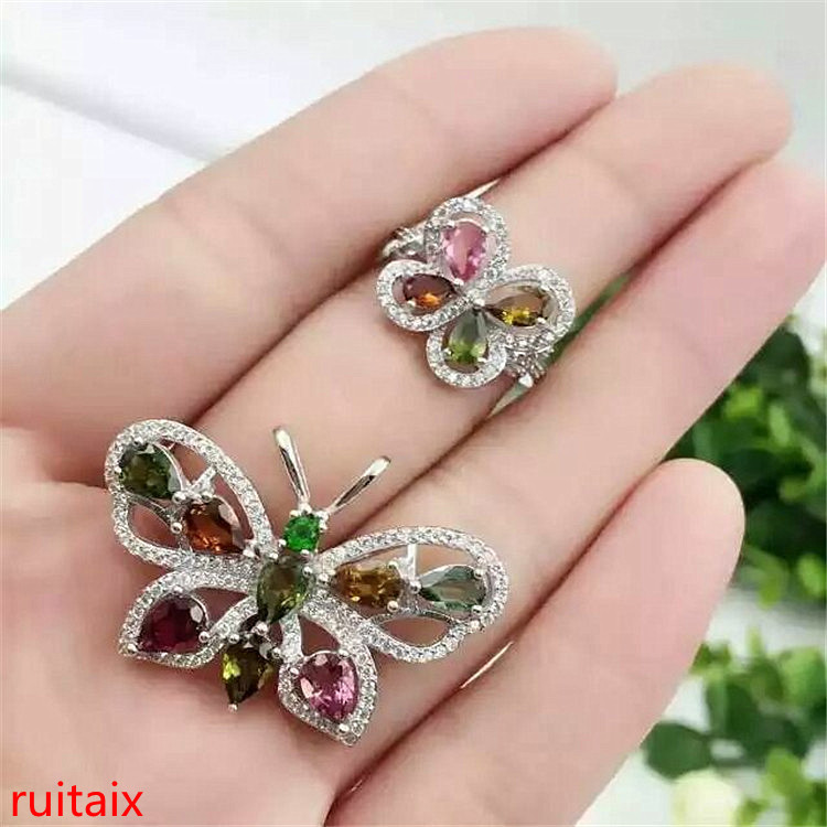 KJJEAXCMY boutique jewels 925 pure silver inlaid natural tourmaline butterfly gem female pendant ring 3 sets for necklace.