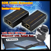 60M HDMI Extender by Single cat5e/6 Cable,Use Signal UTP cable up to 60M,Support 1080P 3D,Network HDTV Adapter (Sender+Receiver)
