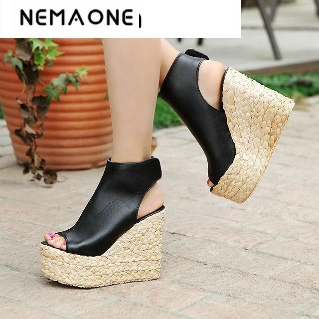 The new arrival ladies sexy peep toe wedges ankle boots in summer large size 34-43<br>