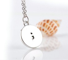 Fashion Semicolon Pendant Necklace with peal Hand stamped Metal Health Awareness Suicide Prevention Depression For Women Jewelry