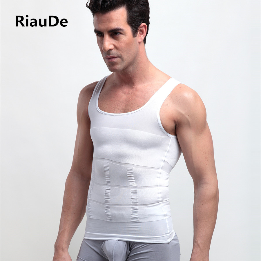 a8aa8e9143e RiauDe Men Sexy Hot Slimming Shapewear Vest T shirt Abdomen Fat Reduce  Compression Body Shapers Black White Fitness Clothing