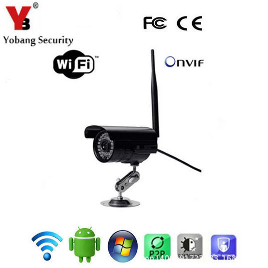 YobangSecurity Wifi Home Surveillance Wireless Outdoor IR Cut Bullet Security Camera Night Vision Weatherproof 30M IR Distance<br>