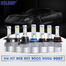 Oslamp S2 H1 H3 H4 H7 H11 H13 9004 9005 9006 9007 9012 COB Chip LED Headlight Bulb Hi-lo Beam Single Beam 8000lm 12V 6500k(China)