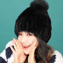 New lady's winter warm real rabbit fur knitting peaked cap Christmas present