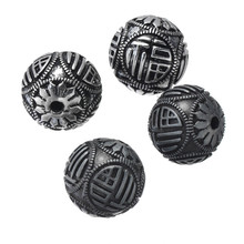 Diameter 16mm Gorgeous Gun Black Plated Zinc Alloy Round Chinese Words FU Carved Loose Beads For DIY Hole 2.40mm 50PCS CHF073(China)