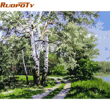 RUOPOTY Forest Landscape DIY Digital Painting By Numbers Unique Gift Acrylic Picture Modern Wall Art Hand Painted Oil Painting(China)