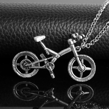 Sporty Stainless Alloy Bike Pendant Necklace Long Chain Jewelry Charm Pendants&Necklace for Women men Unisex Gift