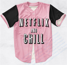 2 Colors Real AMERICAN USA Size Custom made Fashion 3D Sublimation Print Netflix & Chill Baseball Jersey plus size