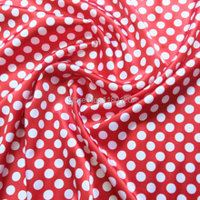 red dots patterned elastic satin fabric cloth Country Style soft imitation silk satin fabric