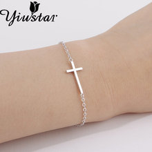 Yiustar 2017 New Fashion Sideways Cross Simple Jesus Piece Sideways Bracelet For Women Pulseras Friendship Gift Idea B018