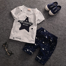 2017 Summer Baby Boys Clothes Kids Short Sleeve Clothing Set Star Toddler Boys short sleeved T-Shirts+Children Shorts