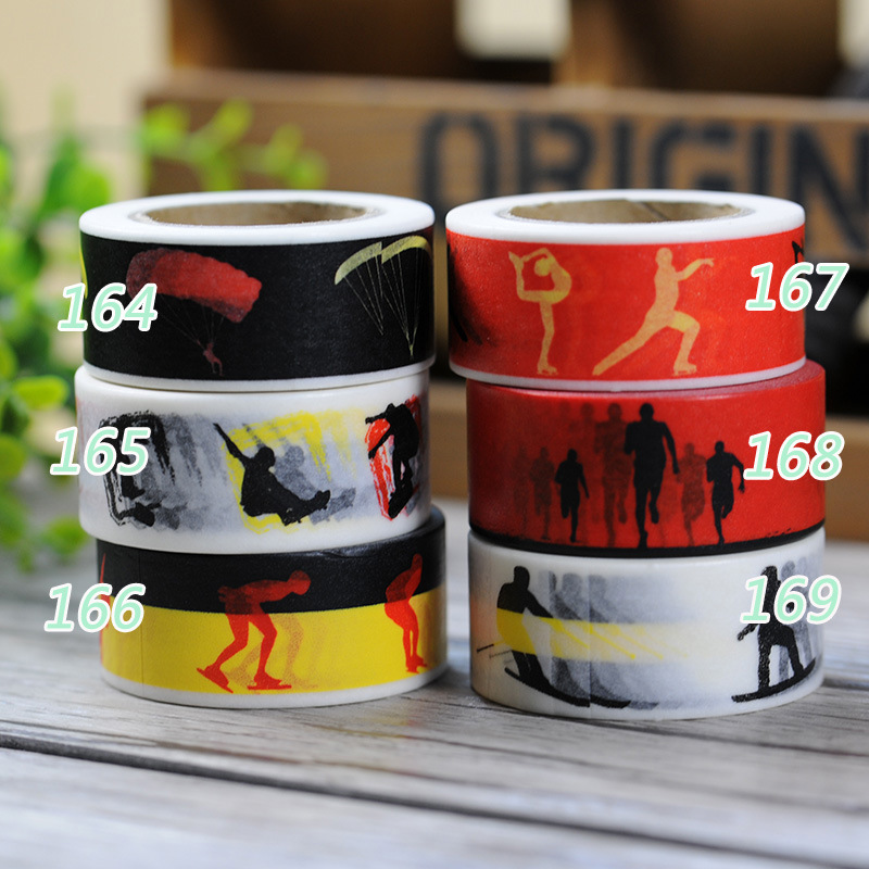 Free Beautiful sport washi tape/wider 20mm*10m washi tape/sports item masking paper tape