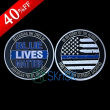 1pcs/lot New custom hero commemorate medal coins silver plated US flag blue lives matter challenge coins collectibles 50*3mm(China)