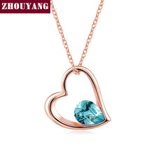 Sweety Hollow out Heart Tear-drop Blue Crystal Pendant Necklace Fashion Jewelry For Woman Girl Party Work Gift Wholesale ZYN324
