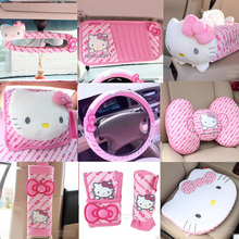 Pink Car-Styling Car Seat Covers Interior Accessories Hello Kitty Car Steering Wheel Cover Handbrake Gears Cover - Pink & Rose