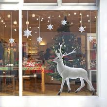 Christmas Decoration Window Stickers store shop Christmas Deer Removable Wall Sticker Art Home Decor pared Pegatina D48Au16A(China)