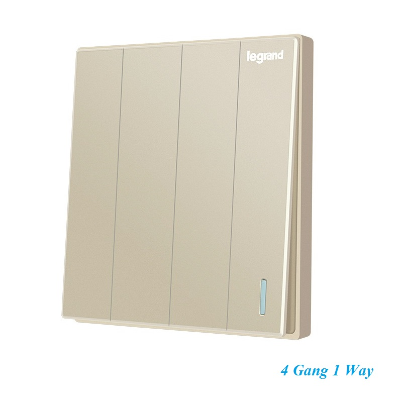 High Quality Minimalism Elegant Milan Gold Stylish Large Panel Wall Switch With Fluorescence 4 Gang 1 Way Single Control Switch<br><br>Aliexpress