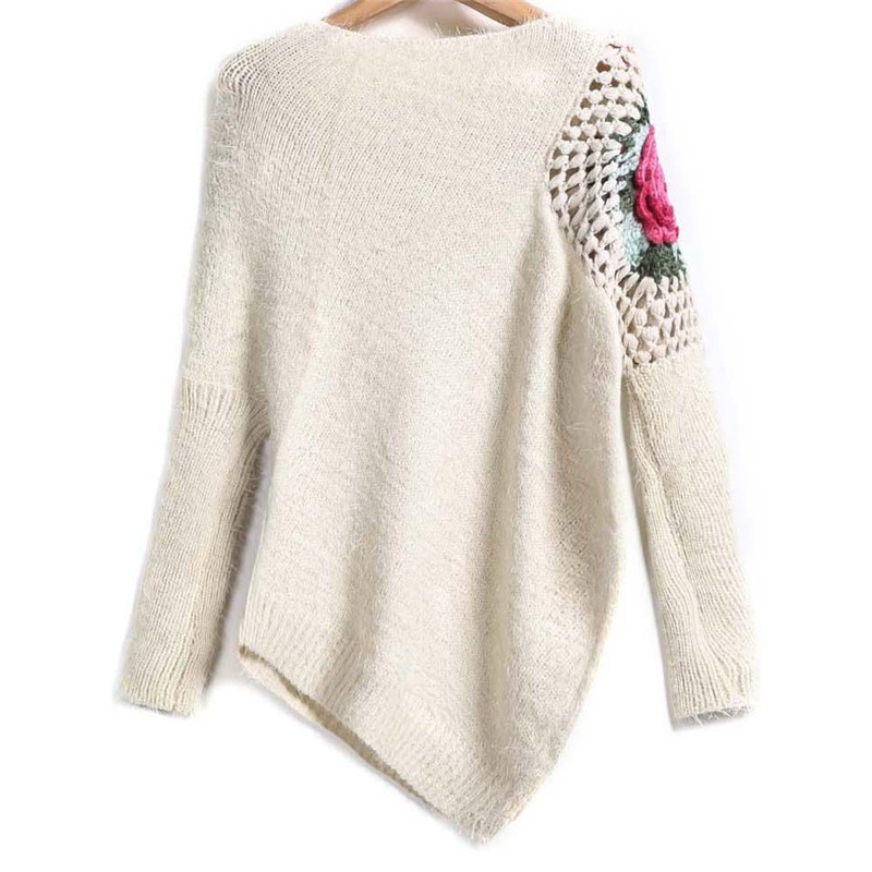 Apricot Round O Neck Floral Crochet Loose Sweater 2018 Fall Women