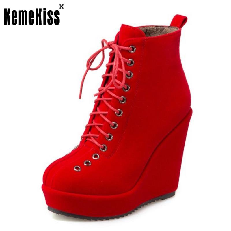 KemeKiss Size 33-43 Women Half Short Boots Zipper Winter Boots With Warm Shoes Mid Calf Boots Thick Heel Boots Women Footwears<br>
