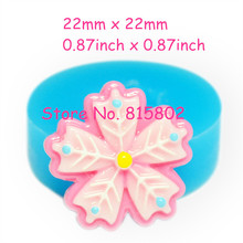 Free Shipping HYL205U 22mm Flower Silicone Mold Craft Cupcake Topper Gum Paste Soap Cookie Nougat Tallow Cotton Candy Mold