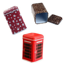 Metal Candy Trinket Tin Jewelry Iron Tea Coin Storage Square Box Case 1 PC Cute Red Telephone Booth Shaped Box Wholesale 10M09