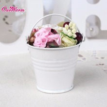 Ourwarm 50pcs Mini Metal Bucket Tin Candy Box Wedding Gift Bag for Guests Wedding Party Decoration Halloween Accessories