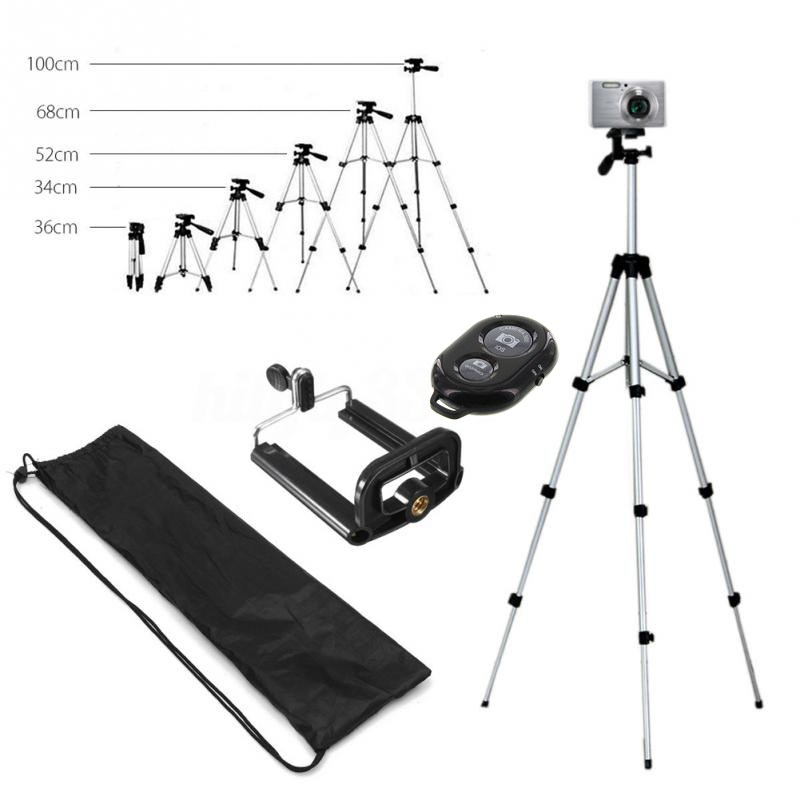 Long tripod Bluetooth Remote Control Self-Timer Camera Shutter Clip Holder Tripod Sets Kit Gift For phone Stand holder (10)