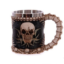 European and American fashion creative skull cup Skull head goblet beer 3D solid stainless steel knight glass