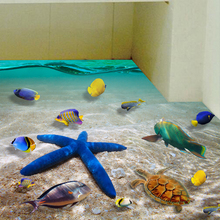 Beautiful Seabed Starfish Wall Stickers Kids Rooms Decor Poster DIY 3d Bathroom Floor Sticker Colorful Fishes Sea Murals SD121