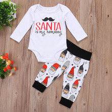 2017 Autumn new international trade children's clothing baby girl Santa Claus pure cotton Children's suit(China)