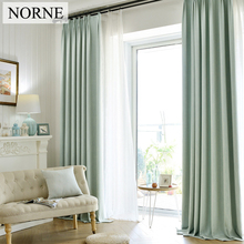 NORNE Solid Faux Linen Blackout Curtain Thermal Insulated Drapes Noise Blocking Window Curtains Blinds for Bedroom Living Room