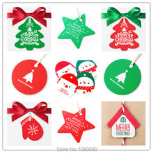 50pc/lot Handmade DIY Kraft Christmas Decoration Hang Tag Christmas Party Ornament Paper Cards Gift Box Tag Kraft Label Sticker(China)