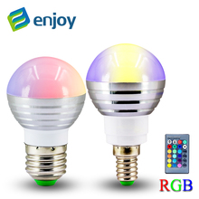 1Pcs E27 E14 LED RGB Bulb lamp AC 85-265V 3W LED RGB Spot light dimmable magic Holiday RGB lighting +IR Remote Control 16 colors