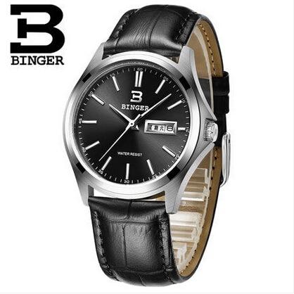 Top Brand Binger Business Watch Men Ultra Thin Switzerland Watch Genuine Leather Quartz Watches Men Wristwatch Relogio Masculino<br>