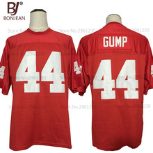 BONJEAN New Cheap FORREST GUMP #44 The Movie Jersey Red Sewn American Football Jersey Quality Mens Shirts Free Shipping(China)