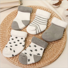 5 pairs/lot baby socks infant winter cotton socks baby girl boy Anti-Slip socks 0-2 years toddle newborns short socks