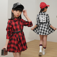 Elegant Casual Plaid Long Sleeve Girl Shirt Dress With Belt Fashion Kids Homecoming Quinceanera Dresses Cocktail Club Party