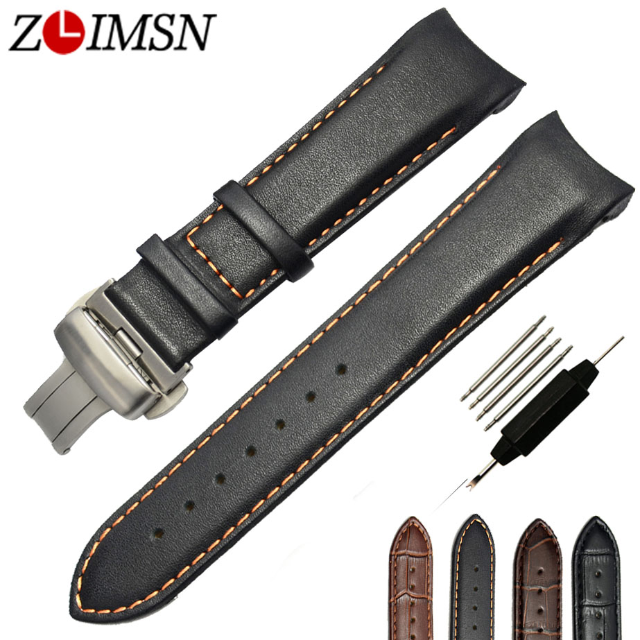 Watchbands Genuine Leather Stitched Watch Bands Black Brown Orange Stitched Curved Weatband Men 22mm 24mm Metal Buckles T035<br><br>Aliexpress